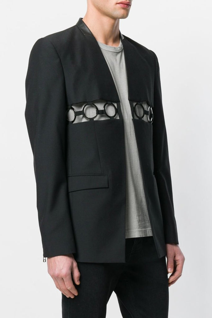 UNCONDITIONAL SS19 Black | Gunmetal ring cutout 'line of beauty' jacket