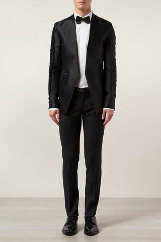 UNCONDITIONAL AW18 Black Boiled wool draped front bordered cardigan.