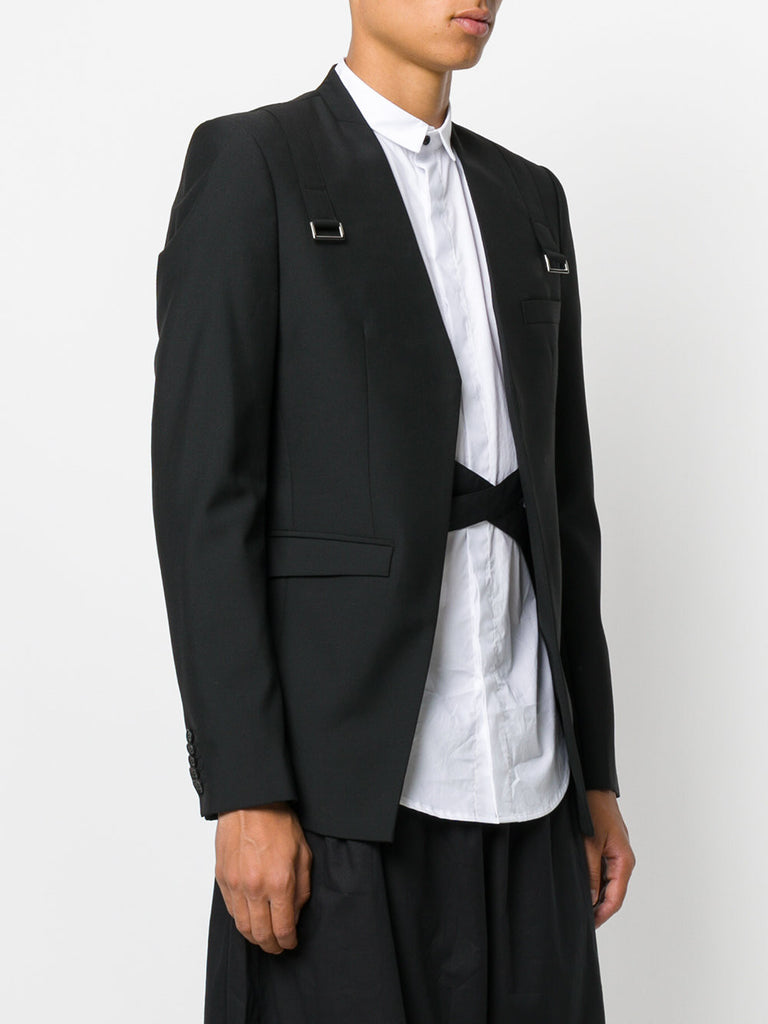 UNCONDITIONAL SS18 Black cutaway jacket with shoulder straps and silver ring.
