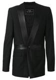 UNCONDITIONAL Black and Black leather Union Jack blazer.
