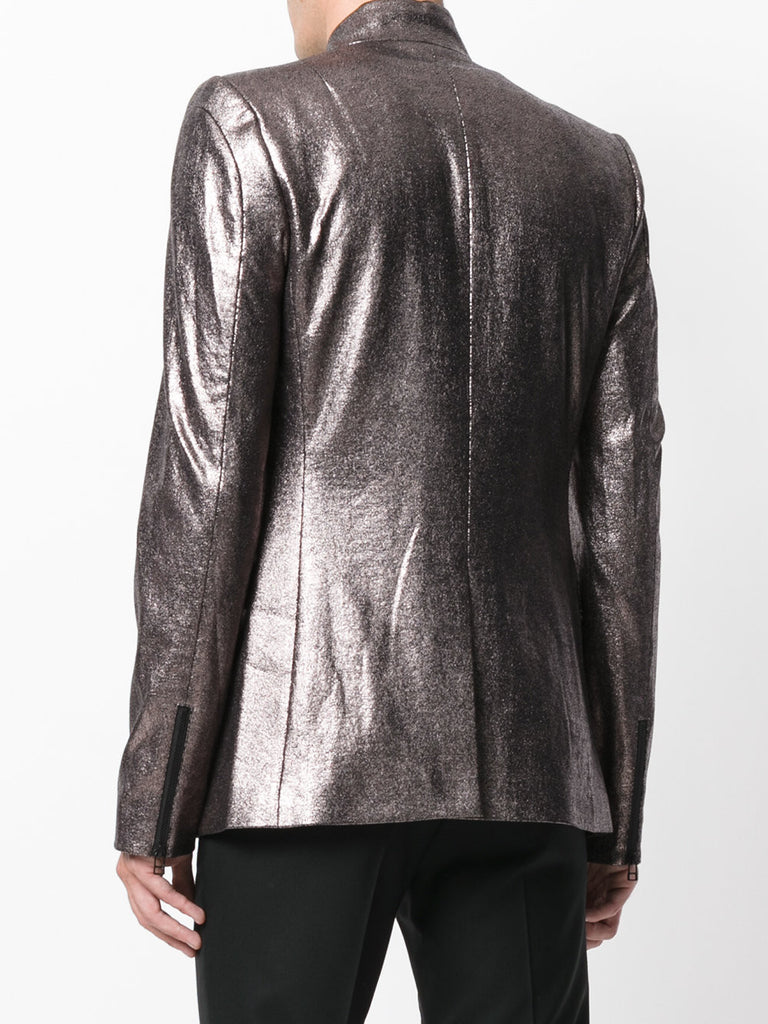 UNCONDITIONAL Bronze foiled cutaway jacket with silk satin lining.