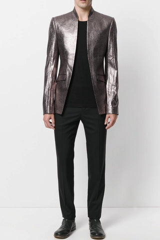 UNCONDITIONAL Bronze foiled one button jacket with peak lapels.