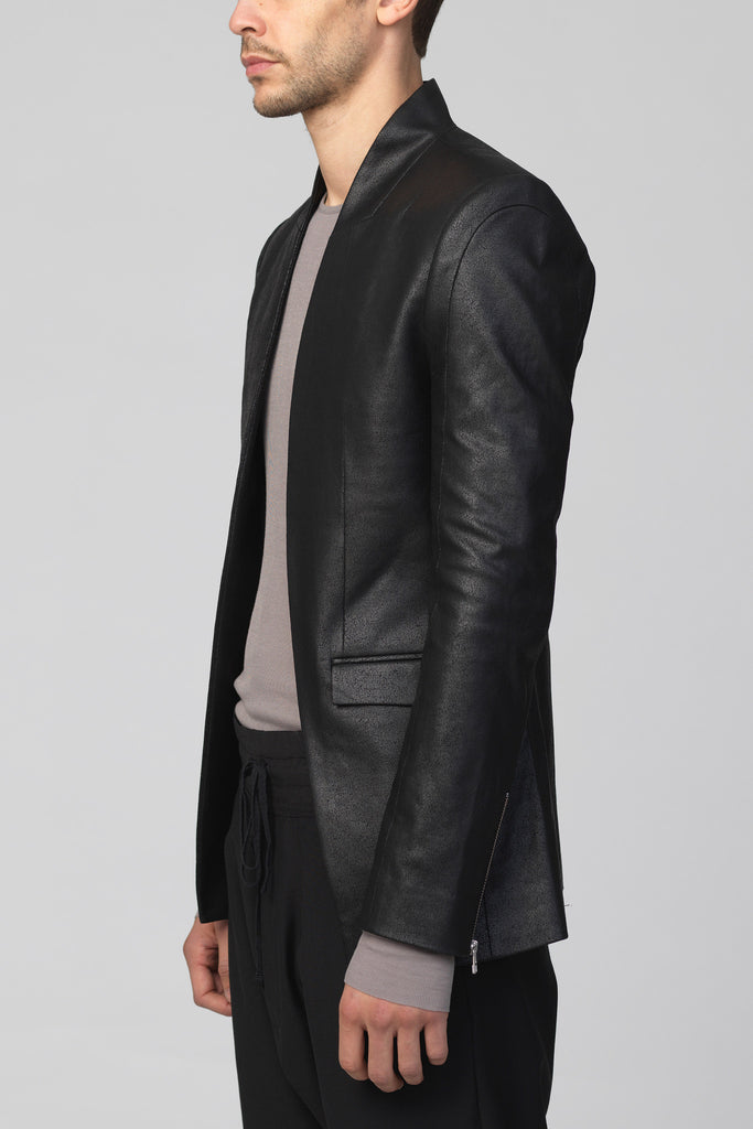UNCONDITIONAL BLACK leather look, MATT foiled cotton cutaway jacket.