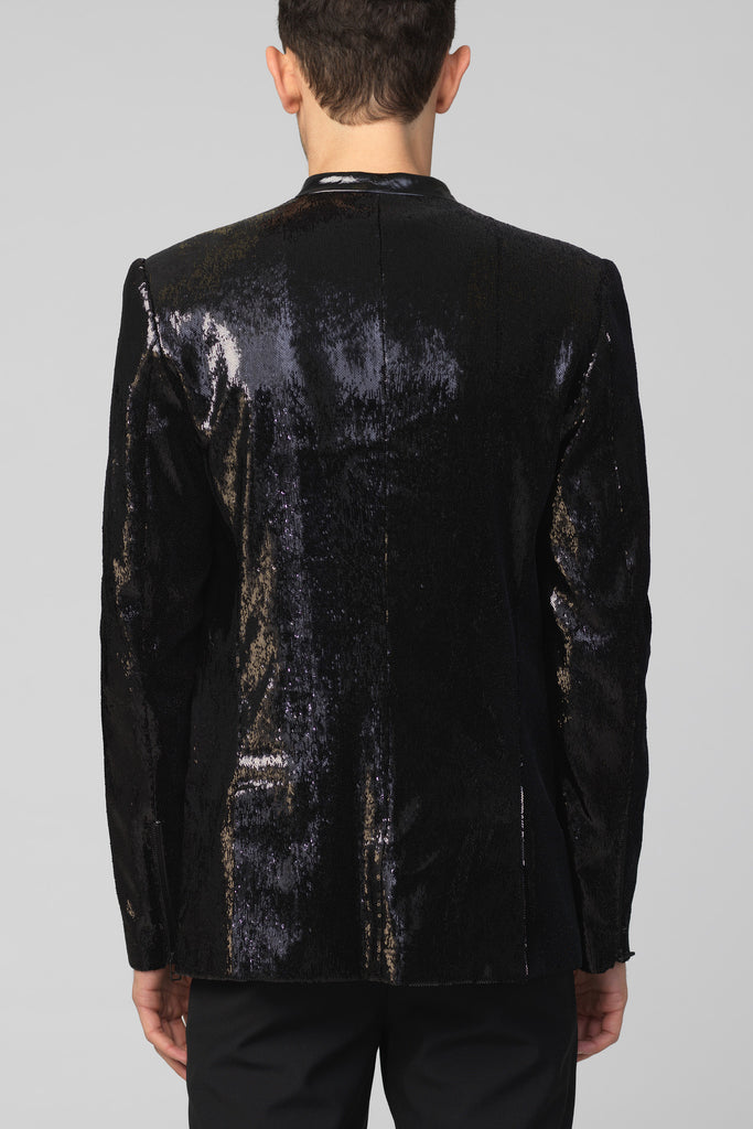 UNCONDITIONAL AW16 Black new 1 button dense fully sequinned jacket
