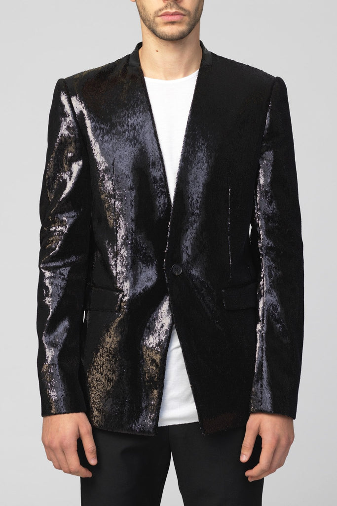 UNCONDITIONAL black angled sequin jacket with patent leather collar. code : JK599