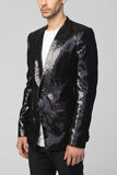 UNCONDITIONAL Pewter new 1 button dense 'mirror' sequinned jacket