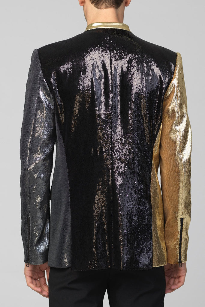 UNCONDITIONAL SS17 Black|Pewter|Gold new 1 button dense fully sequinned jacket
