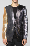 UNCONDITIONAL Black | Pewter | Gold 1 button mirror sequinned jacket