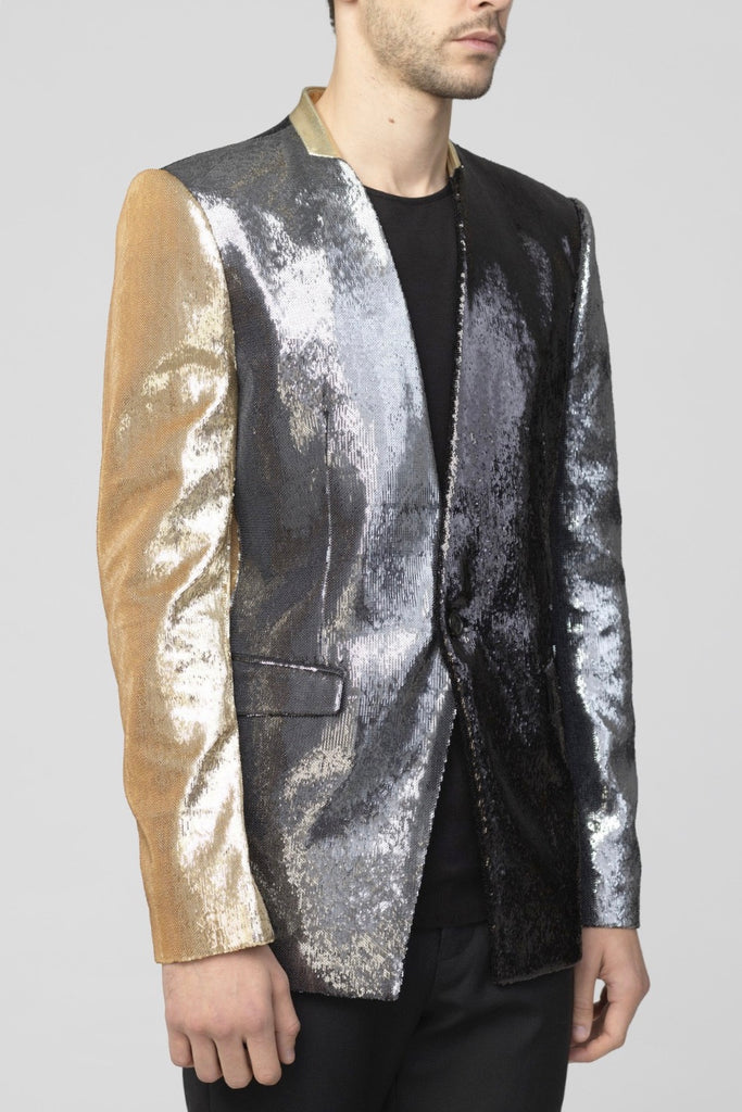 UNCONDITIONAL Black | Pewter | Gold 1 button sequinned jacket
