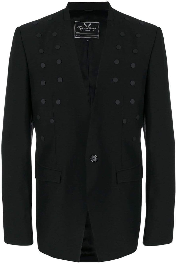UNCONDITIONAL Black 1 button jacket with black scarification studs