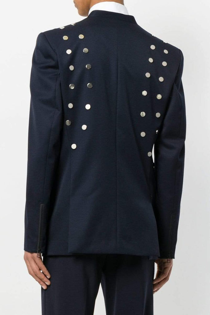 UNCONDITIONAL Navy 1 button jacket with silver scarification detailing