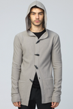 UNCONDITIONAL AW19 Dirty Stone boiled merino wool hooded cardigan jacket.