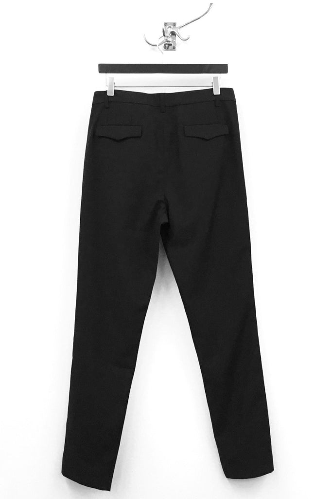 UNCONDITIONAL black cigarette trousers with white lace side panel.