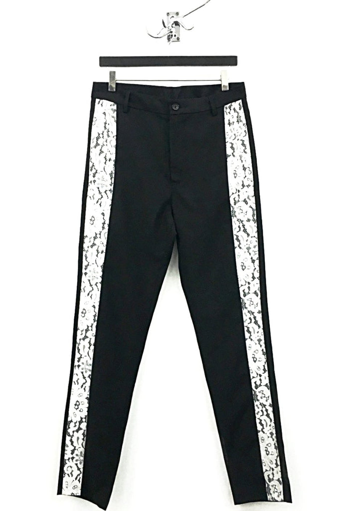 UNCONDITIONAL black cigarette trouser with white lace side panel.