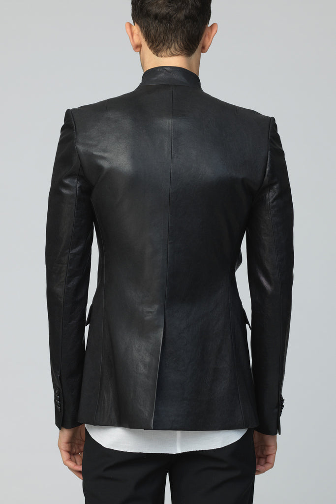 UNCONDITIONAL Signature leather high notch collar cut away jacket.