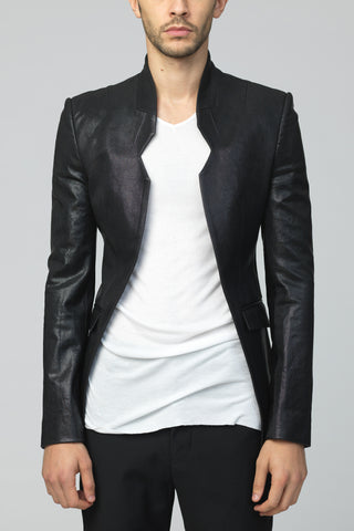 UNCONDITIONAL black angled cutaway jacket with front edge stud detailing
