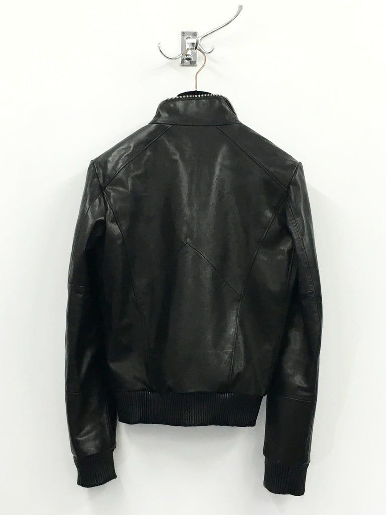 UNCONDITIONAL Signature Black leather space cropped funnel zip biker jacket
