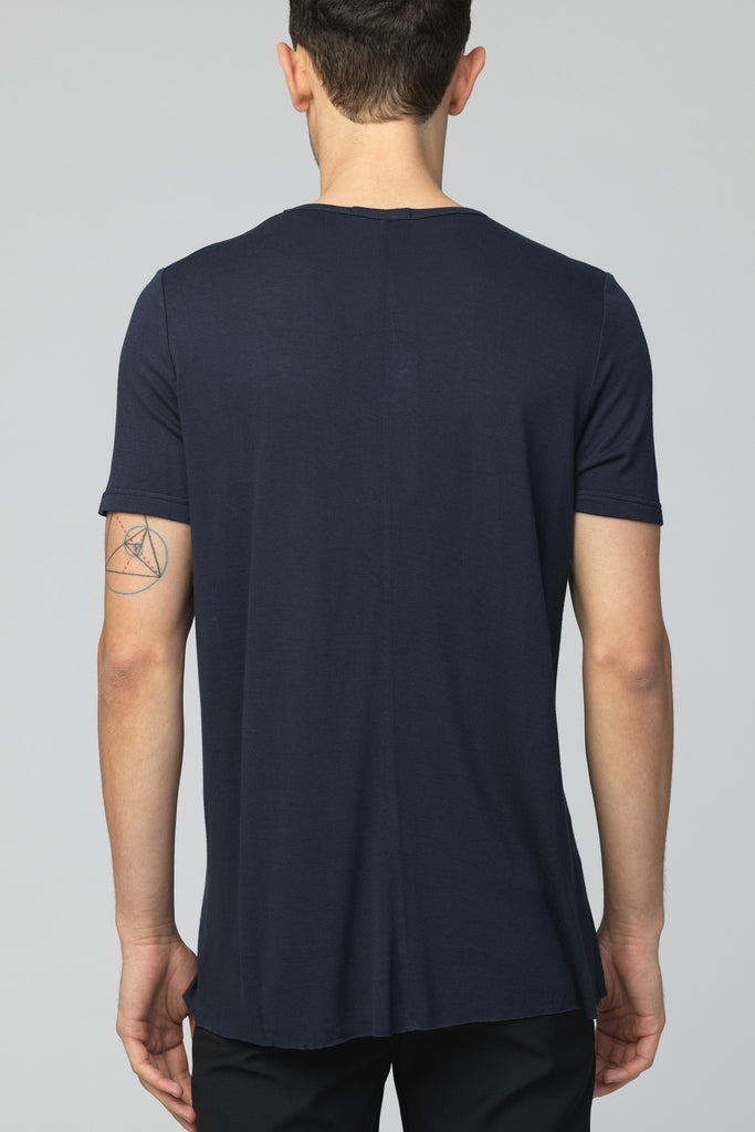 UNCONDITIONAL Petrol loose knit rayon crew neck T-shirt.