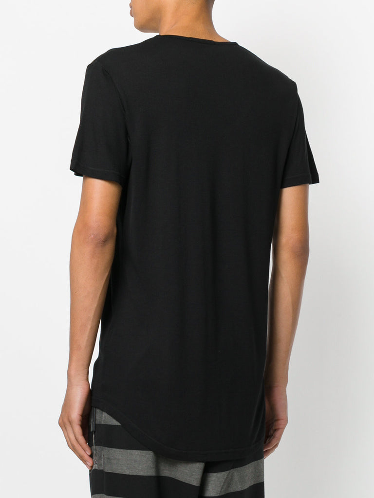UNCONDITIONAL Black loose knit rayon scoop neck T-shirt.