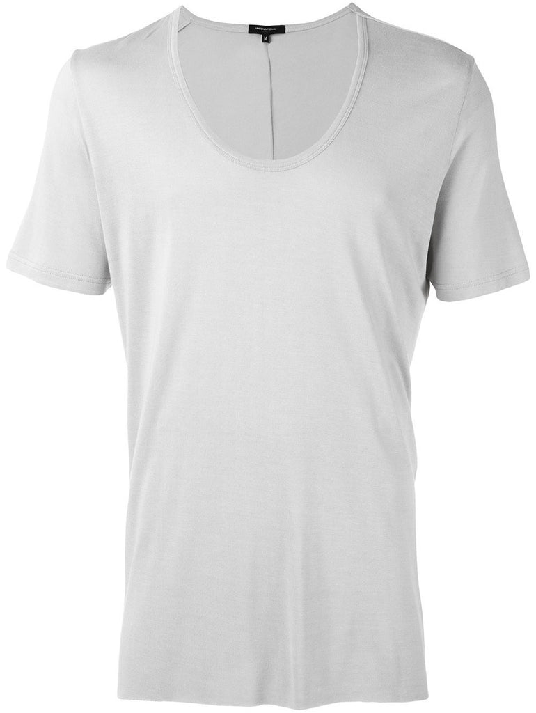 UNCONDITIONAL Dirty White loose knit rayon scoop neck T-shirt.