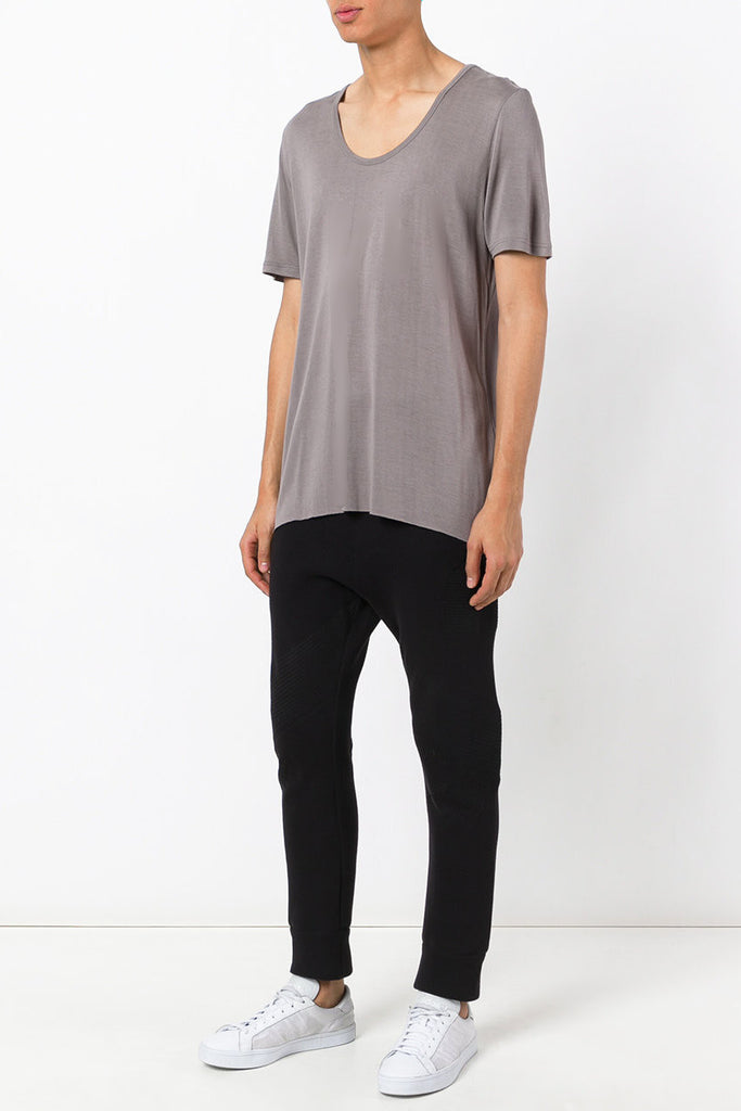 UNCONDITIONAL Mud loose knit rayon scoop neck T-shirt.