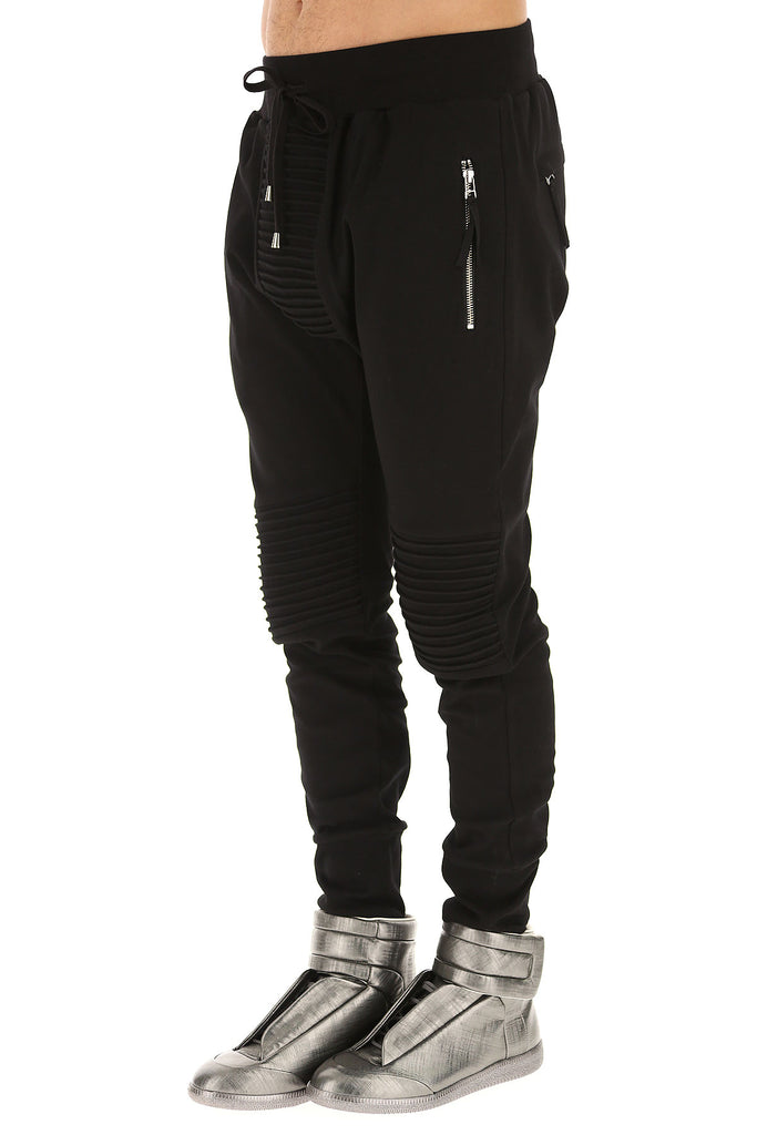 UNCONDITIONAL AW19 Black slim jersey trousers - piped knee + crotch