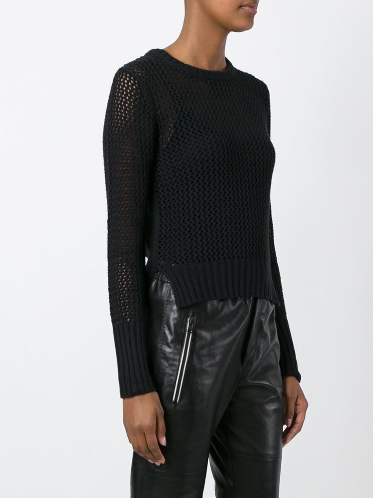 UNCONDITIONAL SS18 Black cotton zip back mesh knitted sweater