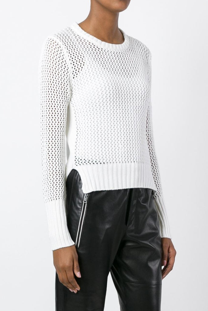 UNCONDITIONAL white crew neck mesh knitted sweater with a solid zip-up back.