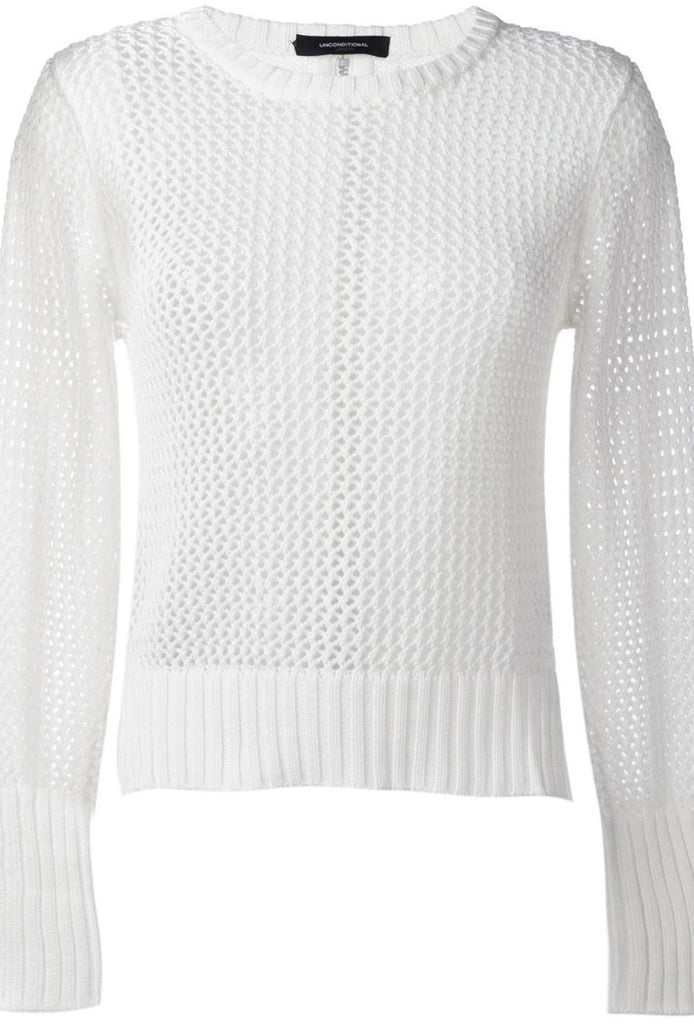 UNCONDITIONAL SS18 white cotton zip back mesh knitted sweater