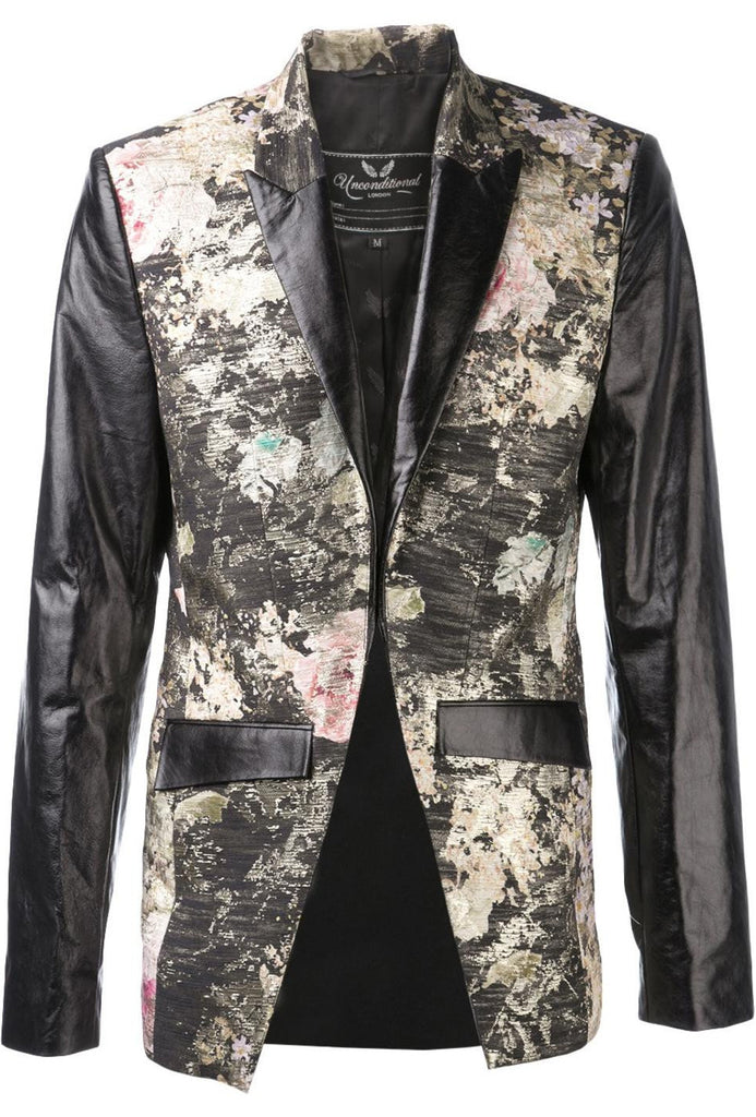 UNCONDITIONAL Floral silk wool  cutaway jacket with contrast paper leather sleeves
