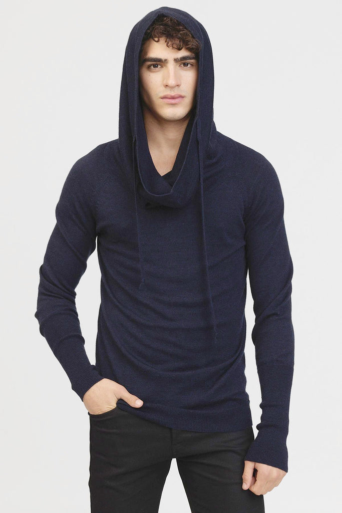 UNCONDITIONAL midnight blue wm309  wool drape funnel hoodie jumper