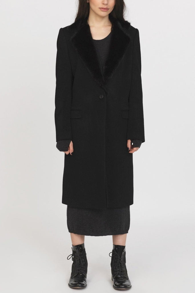 unconditional black single breasted boyfriends coat with mink collar
