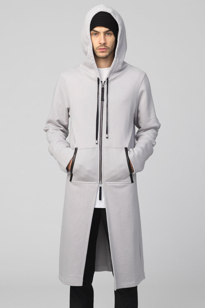 UNCONDITIONAL 2018 Silver Grey brushed sweatshirting hooded coat with heavy zip.