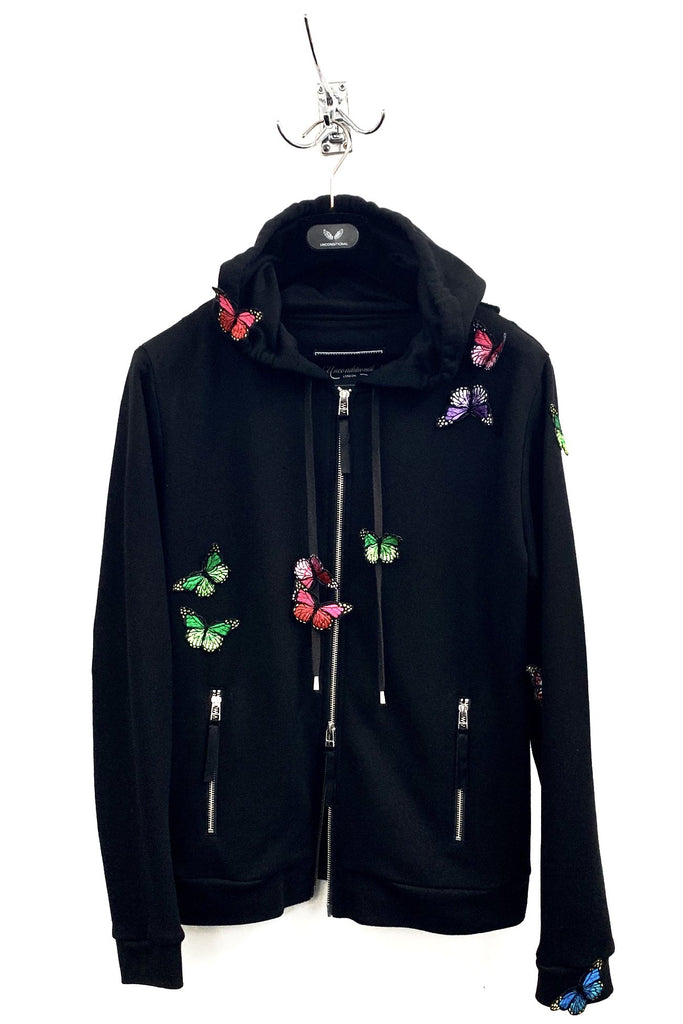UNCONDITIONAL SS19 Black hooded zip up butterfly sweatshirt