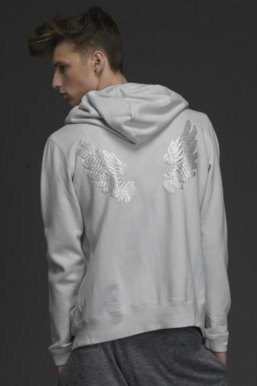 UNCONDITIONAL grape zip up hoodie with black wings hand embroidery.