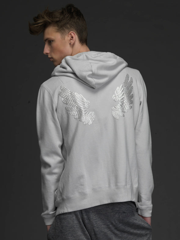 UNCONDITIONAL Grey zip up hoodie with black hand embroidered wings