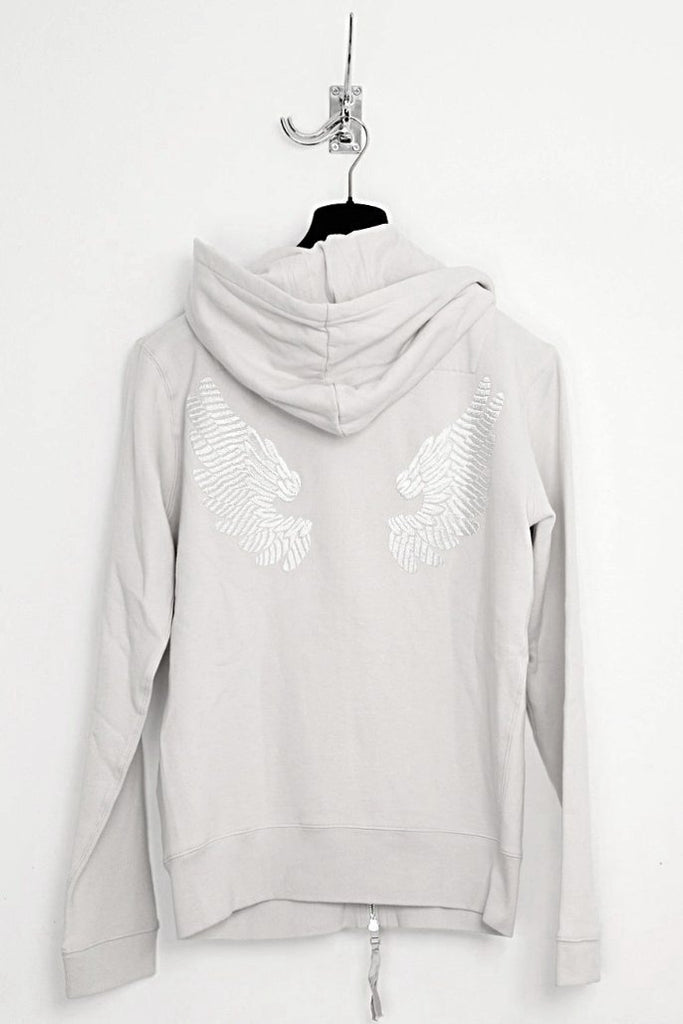 UNCONDITIONAL Dirty White zip up hoodie with hand embroidered wings