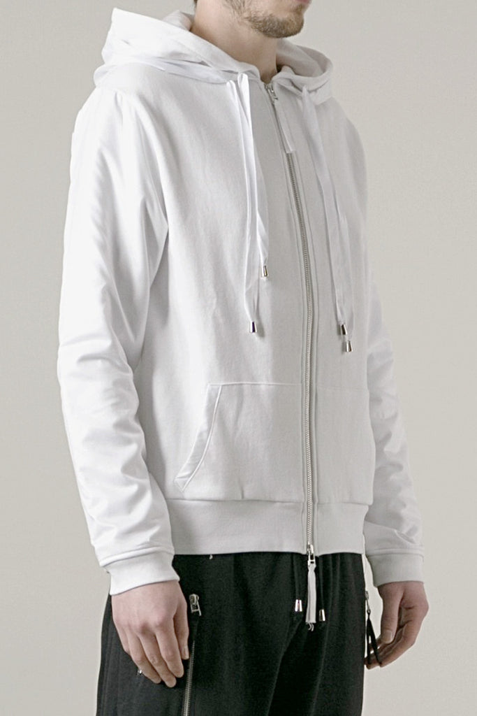 UNCONDITIONAL White sweat-shirting zip up hoodie with white microfibre