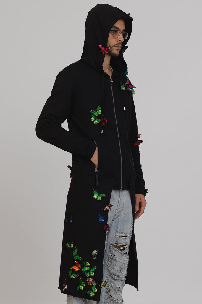 UNCONDITIONAL Black sweatshirting hooded zip up butterfly tailcoat