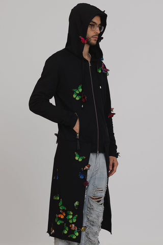 UNCONDITIONAL Black hooded zip up butterfly sweatshirt