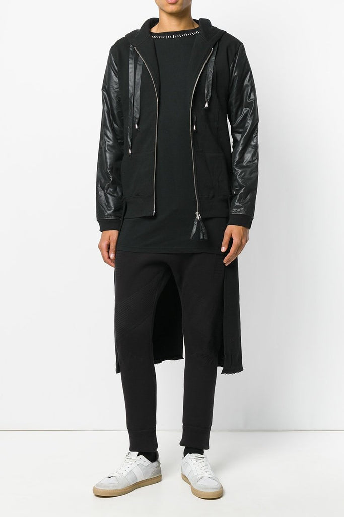 UNCONDITIONAL Black sweat tailcoat hoodie with microfibre contrasts.