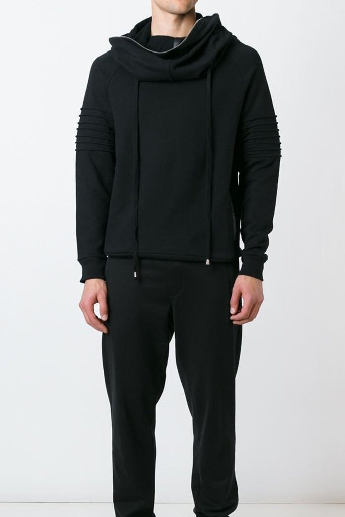 UNCONDITIONAL Black funnel neck hoodie with edge zip and bicep rib detailing