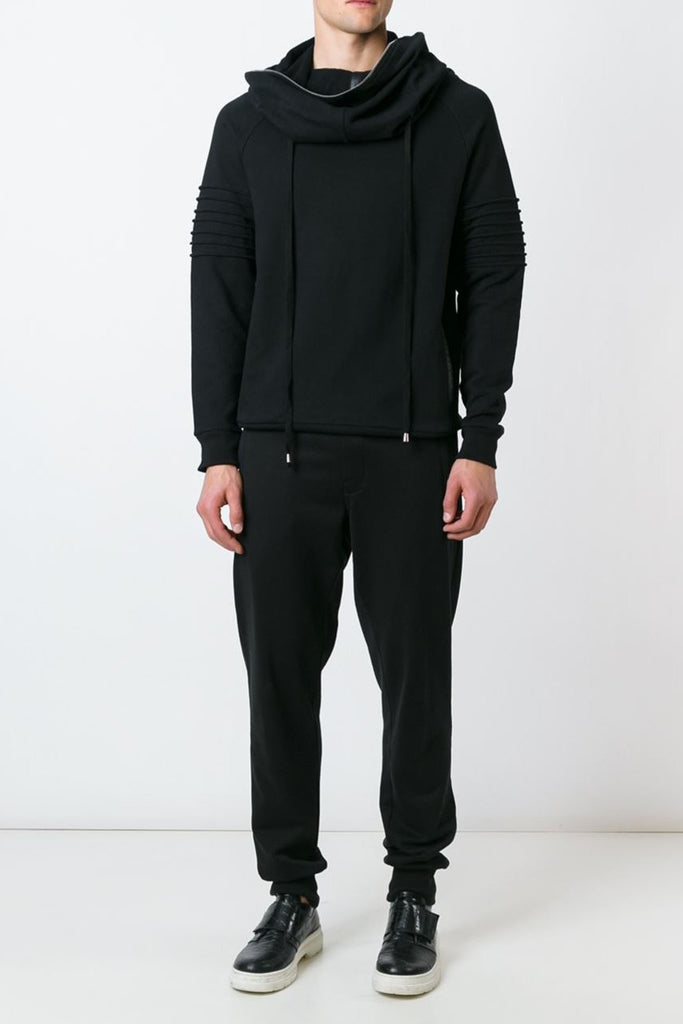 UNCONDITIONAL AW17 Black funnel neck hoodie with arm ribs and silver zip detailing