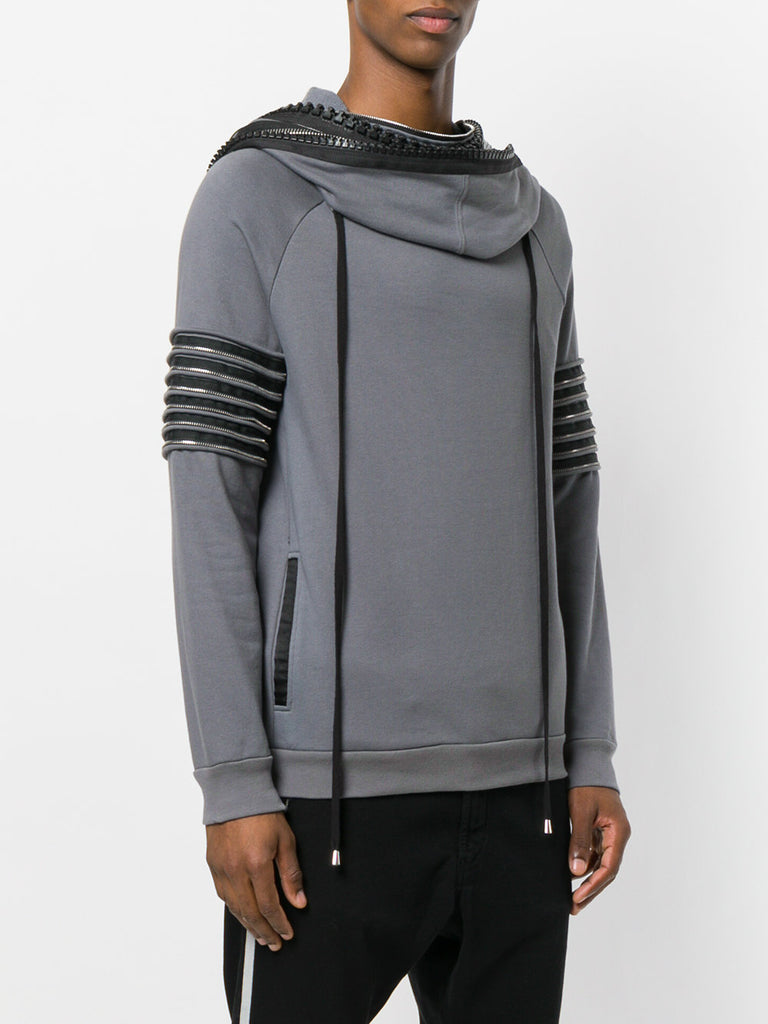 UNCONDITIONAL SS18 Mouse Grey sweat funnel neck hoodie with heavy neck & arm zip detailing