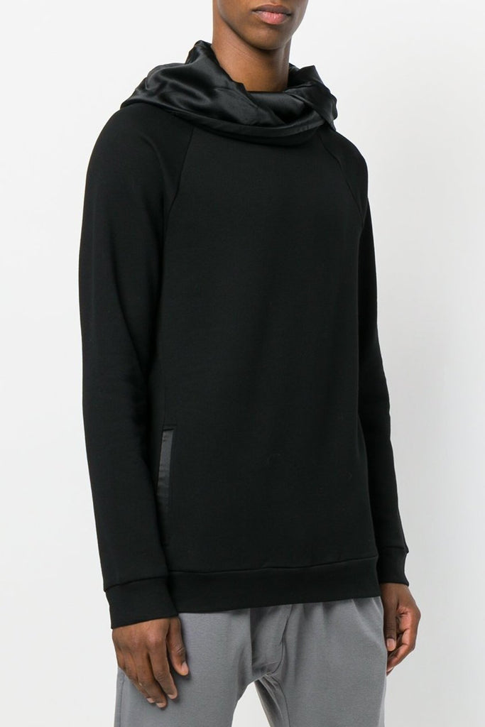 UNCONDITIONAL AW18 Black zip up funnel neck sweat with silk lining