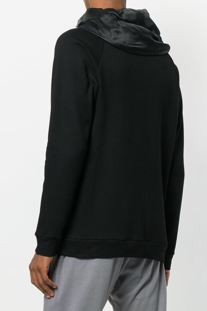 UNCONDITIONAL SS19 Black zip up funnel neck sweat with silk lining