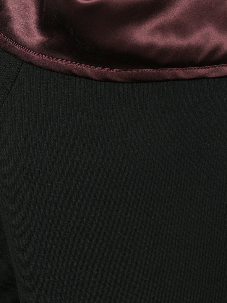 UNCONDITIONAL SS18 Black zip up funnel neck sweat - burgundy silk lining