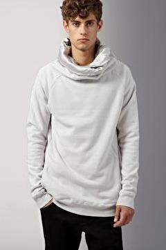 UNCONDITIONAL Dirty white zip up silk lined funnel neck sweatshirt ms66a