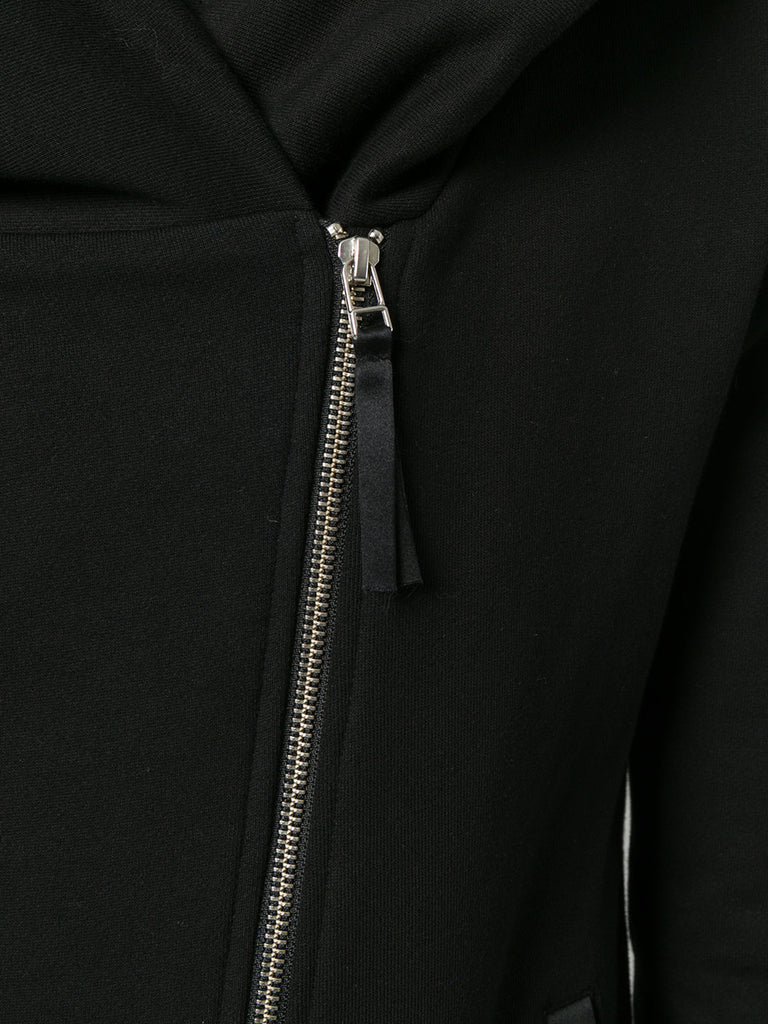 UNCONDITIONAL AW18 signature black biker hoodie with back tail.