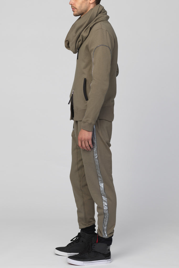 UNCONDITIONAL's Signature military biker hoodie with dark silver arm piping.